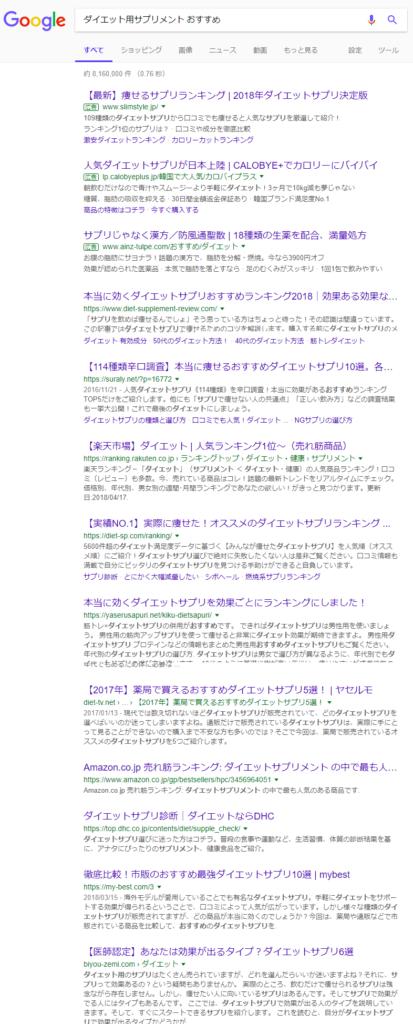 ダイエット用サプリメント おすすめ Google 検索