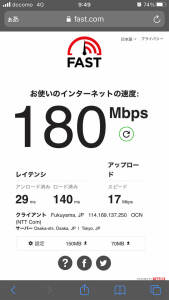 LINEモバイル回線速度9時台(2021年計測)