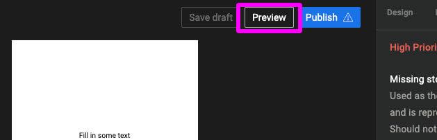 WEBストーリーのプレビュー表示ボタン位置